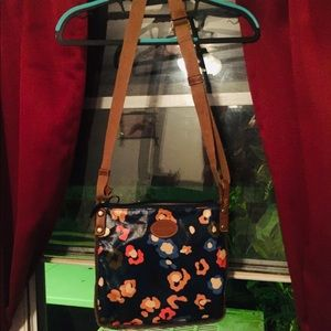 Fossil bag, dark blue with multicolor flowers